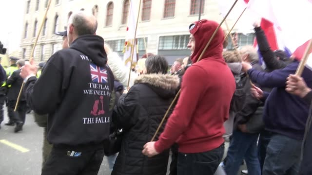 Protesters clash at farright rally in London Protesters clash at farright rally in London ENGLAND London EXT Various of police officers pushing back...
