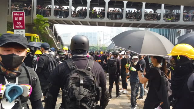 Protesters clash with police after a rally in Kwun Tong on August 24 2019 in Hong Kong China Prodemocracy protesters have continued rallies on the...