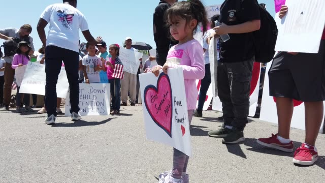 protesters demonstrate in front of the u.s. border patrol facility where lawyers reported that detained migrant children were held unbathed and... - emigration and immigration stock videos & royalty-free footage