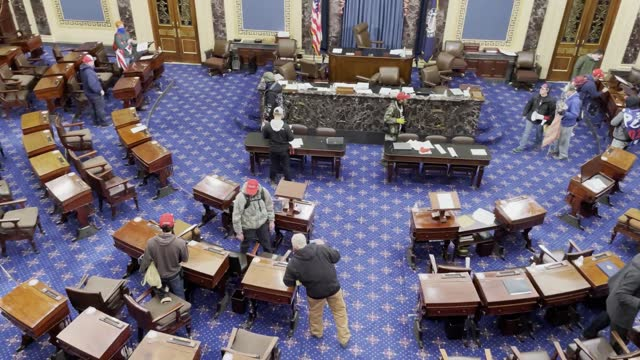 protesters enter the senate chamber on january 06, 2021 in washington, dc. congress held a joint session today to ratify president-elect joe biden's... - senate stock videos & royalty-free footage