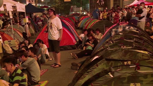 protesters express their disappointment after hong kong authorities and pro democracy protesters held their first talks aimed at ending weeks of... - occupy central stock videos & royalty-free footage