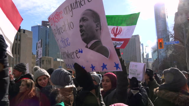 Protesters from all races and religions closed the University Avenue for 6 hours chanting antiTrump slogansThey protest the Immigration ban signed by...