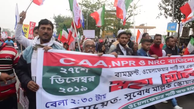 protesters gather during demonstrations against india's new citizenship law in kolkata, india on december 27, 2019. demonstrations continued in... - citizenship stock videos & royalty-free footage