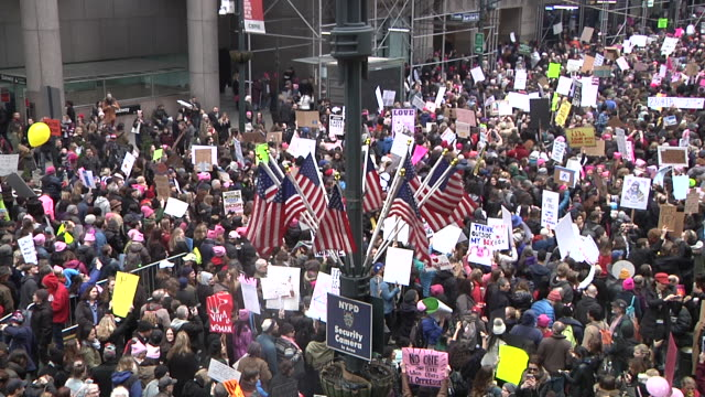 Protesters gather in front of Grand Central Station where the march came to a standstill due to the massive crowd / View shows protesters gather on...