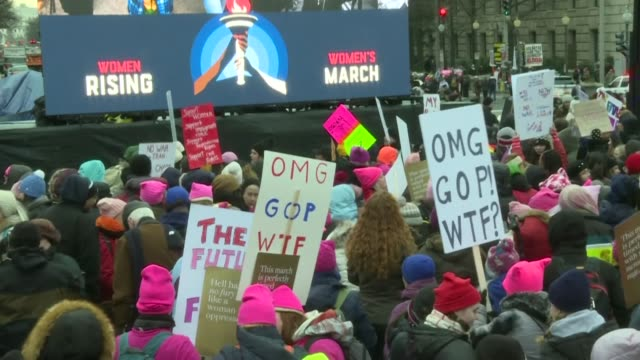 protesters gather in washington dc where the fourth annual women's march is gearing up to protest through the streets of the us capital - fourth occurrence stock videos & royalty-free footage