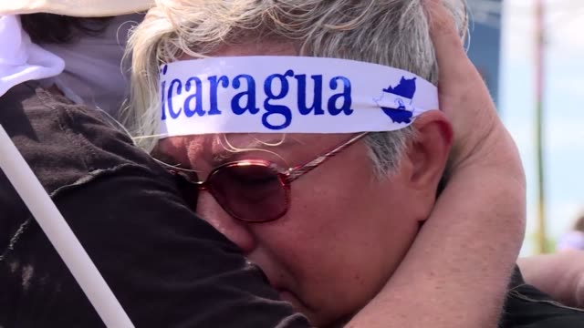 protesters gather nicaragua's capital to demand justice for the more than 160 people killed in violent protests since the start of unrest in april - nicaragua stock videos & royalty-free footage