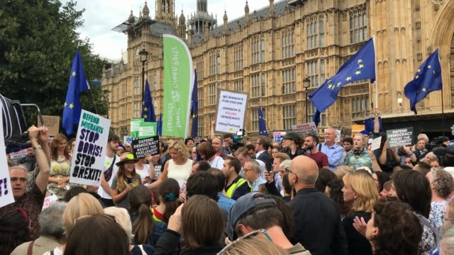 protesters gather outside the houses of parliament to protest against the government proroguing parliament on august 28 2019 in london england... - parliament stock videos & royalty-free footage