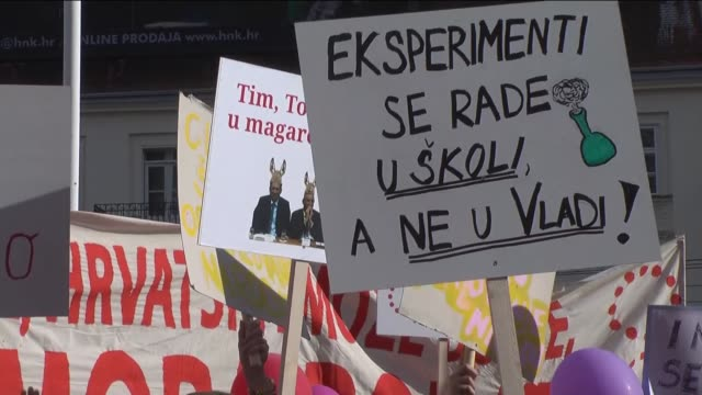 protesters gather to demand the continuance of a comprehensive curricular reform in downtown zagreb croatia on june 01 2016 the civic initiative... - zagreb stock videos & royalty-free footage