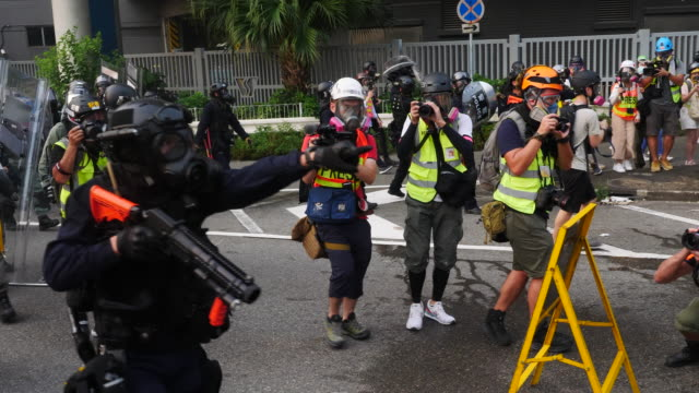 Protesters gathered at Tsun Yip Street Playground and had a peaceful marched across Kwun Tong The more radiacal groups of protesters stop near the...