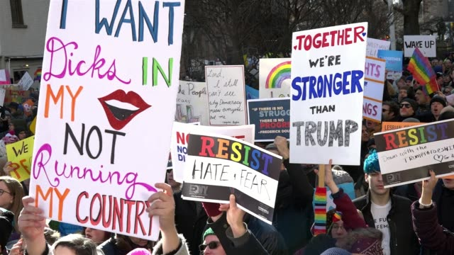 protesters gathered in front of the historic landmark in greenwich village the stonewall inn in solidarity with immigrants asylum seekers refugees... - history stock videos & royalty-free footage