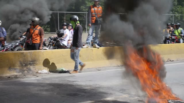 protesters have told sky news venezuela is heading for civil war as tensions build ahead of a controversial vote to rewrite the constitution.... - venezuela stock videos & royalty-free footage