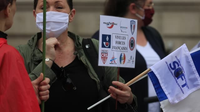 protesters hold placards during the collective ffoc rally in support of the police force on june 27 2020 in paris france the slogan used for the... - femininity stock videos & royalty-free footage