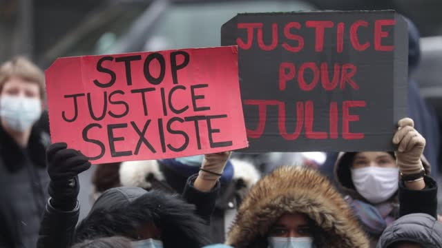 "protesters hold placards which read ""stop sexist justice, justice for julie"" during a demonstration of feminist collectives on february 7, 2021 in... - partisan politics stock videos & royalty-free footage"