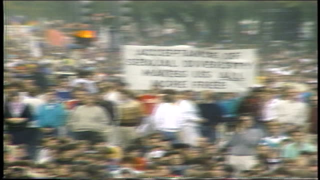 protesters holding acceptance of sexual diversity makes us all free sign in washington dc - 1987 stock videos & royalty-free footage