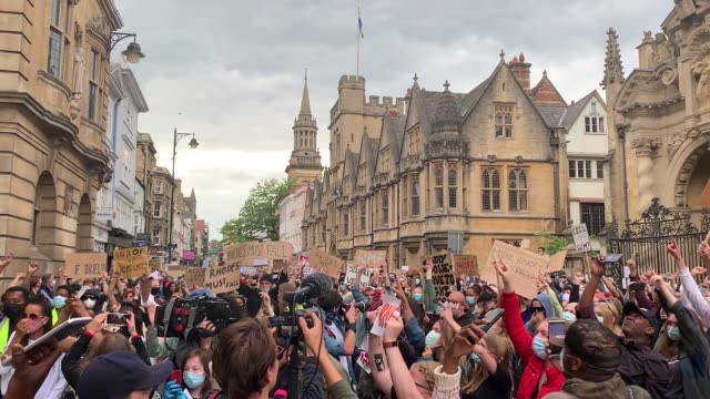 protesters in oxford city centre, oxford, during a protest calling for the removal of the statue of 19th century imperialist, politician cecil rhodes... - oxford england stock videos & royalty-free footage