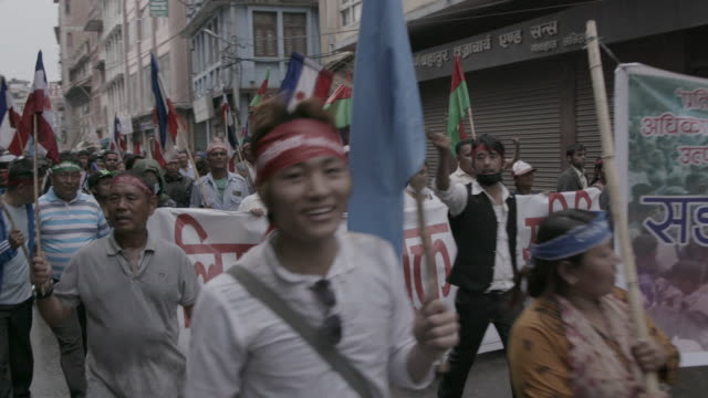 protesters in street of kathmandu, nepal - chanting stock videos and b-roll footage