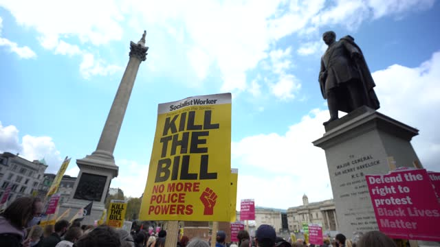 protesters in trafalgar square during a kill the bill protest on may 1, 2021 in london, united kingdom. this is the latest of a series of kill the... - square stock videos & royalty-free footage