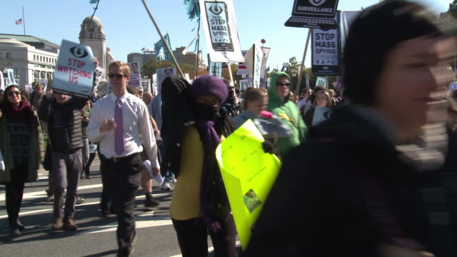 protesters march against nsa spying, for snowden on october 26, 2013 in washington, dc - national security agency usa stock videos & royalty-free footage