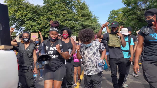 protesters march down martin luther king jr boulevard during a black lives matter march on august 01 2020 in portland oregon the daylight rally came... - {{asset.href}} stock videos & royalty-free footage