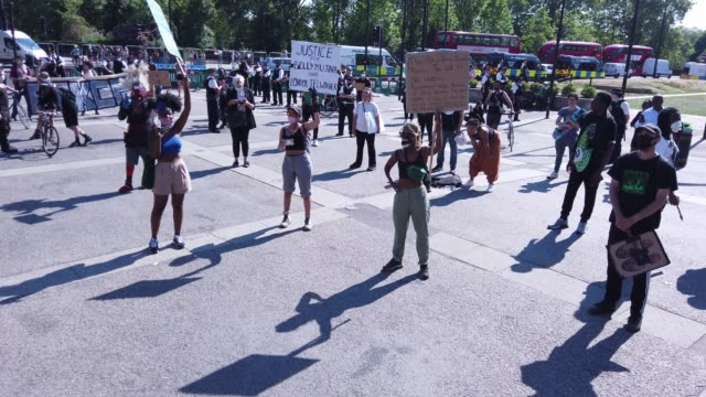 protesters march during a 'black lives matter' demonstration on june 01 2020 in london england the death of an africanamerican man george floyd at... - i can't breathe stock videos & royalty-free footage