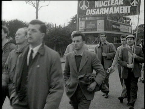 protesters march during a campaign for nuclear disarmament. - 1960 stock videos & royalty-free footage
