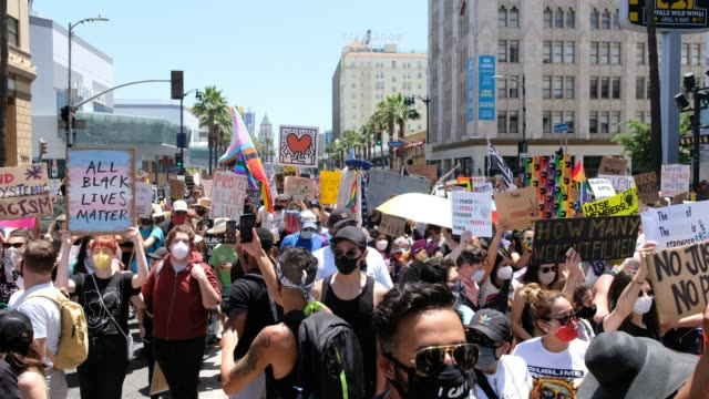 protesters march during the all black lives matter solidarity march on june 14, 2020 in los angeles, california. anti-racism and police brutality... - social justice concept stock videos & royalty-free footage