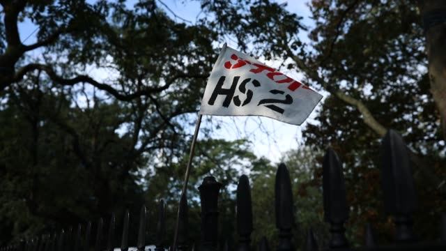 protesters near euston station on october 09 in london england members of the campaign group 'hs2 rebellion' continue to occupy key infrastructure... - commercial land vehicle stock videos & royalty-free footage