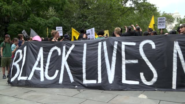 protesters occupied city hall park from monday morning until the early hours of tuesday august 02 / #shutdowncityhallnyc is demanding that nypd... - minority groups stock videos and b-roll footage