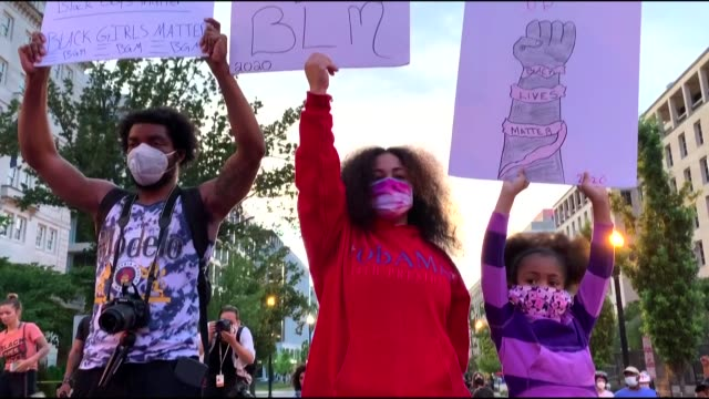 protesters on june 25 gathered outside white house in washington d.c., in support of the black lives matter movement as the demonstrations continue... - protest stock videos & royalty-free footage