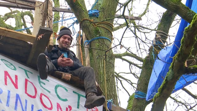 protesters opposing hs2; uk, london; protesters' treehouse in woods in harefield, interviews with anti-hs2 protesters, gvs of drummond street in... - claw stock videos & royalty-free footage