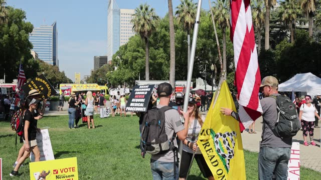 protesters opposing vaccine mandates gather at the capitol building in sacramento as lawmakers do not gain enough support to advance ab455 on... - 10 seconds or greater stock videos & royalty-free footage