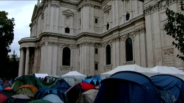 Protesters outside St Paul's Cathedral vow to fight legal bid to remove them ENGLAND London St Paul's Cathedral EXT Dome of St Paul's Cathedral PULL...