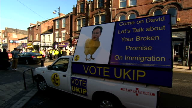 sarah champion interview england yorkshire rotherham ext protests outside ukip offices / ukip election poster on van attacking david cameron's... - party poster stock videos & royalty-free footage