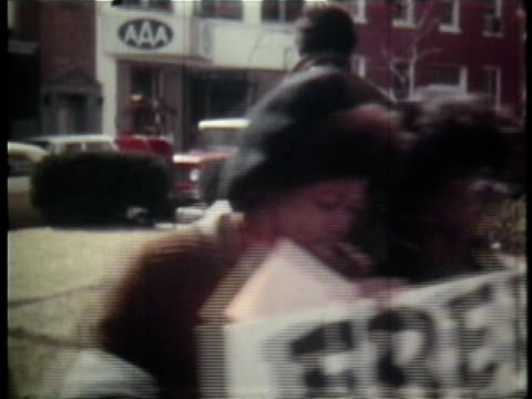 protesters picket on sidewalk outside of courthouse for release of h rap brown from prison / maryland, usa - 1970 stock videos & royalty-free footage