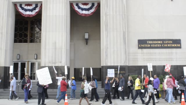 Protesters picket outside Detroit bankruptcy court on August 02 2013 in Detroit Michigan