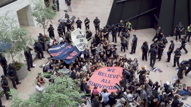 protesters rally against supreme court nominee judge brett kavanaugh on thursday october 04 2018 in washington dc demonstrators marched to the us... - {{ contactusnotification.cta }} stock videos & royalty-free footage