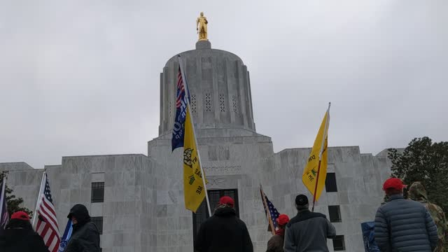 protesters rally in front of the state's capitol of oregon on november 21, 2020 in salem, oregon. protesters angered by lockdown measures and the... - oregon state capitol stock videos & royalty-free footage