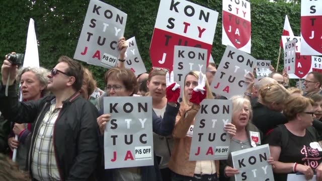 Protesters rally outside the Supreme Court's offices in central Warsaw in support of the body's chief justice Malgorzata Gersdorf who shows up at...