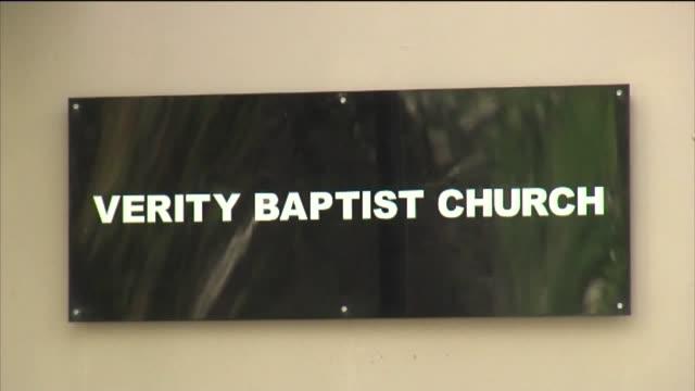 protesters rally outside verity baptist church after pastor's controversial comments. - baptist bildbanksvideor och videomaterial från bakom kulisserna