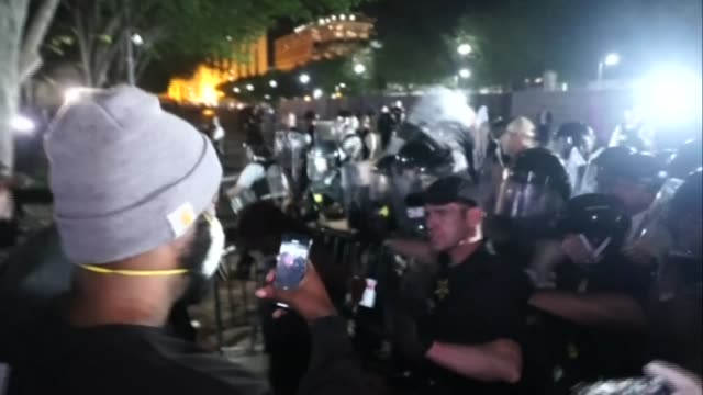 protesters scuffle and clash with secret service agents and riot police in front of the white house gate, after protests erupt across the country... - confrontation stock videos & royalty-free footage