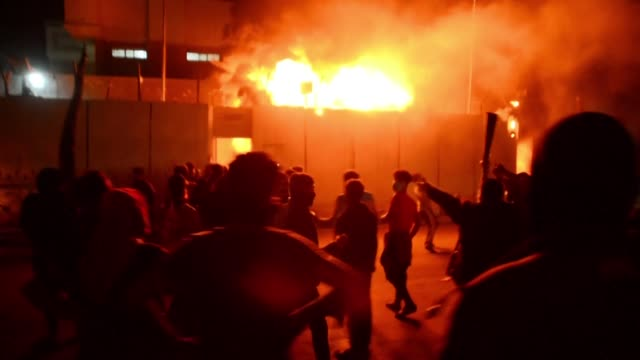 protesters set fire night to iran's consulate in the southern iraqi shiite holy city of najaf two months into the country's most serious social... - najaf stock videos & royalty-free footage