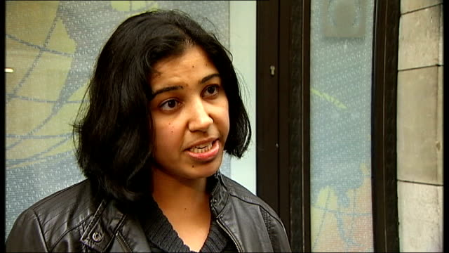 Protesters shot in clashes with police ENGLAND London EXT Ayesha Sabavala interview SOT