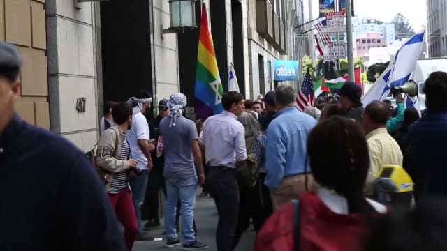 protesters shout slogans and wave palestinian flags in front of israeli consulate during a demonstration in san francisco on may 15 to denounce the... - 2018 gaza border protests stock videos & royalty-free footage
