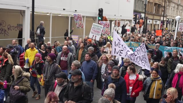 protesters show a lack of social distancing during a unite for freedom march on october 24, 2020 in london, england. hundreds of anti-mask and... - slow motion stock videos & royalty-free footage