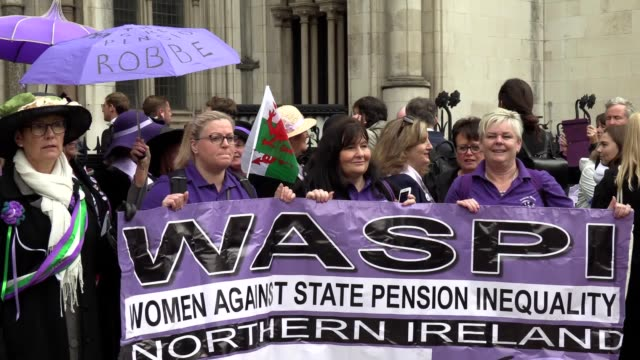 protesters stood in support of the two women who lost their high court fight against the government's move to raise the pension age julie delve and... - julie strain stock videos and b-roll footage
