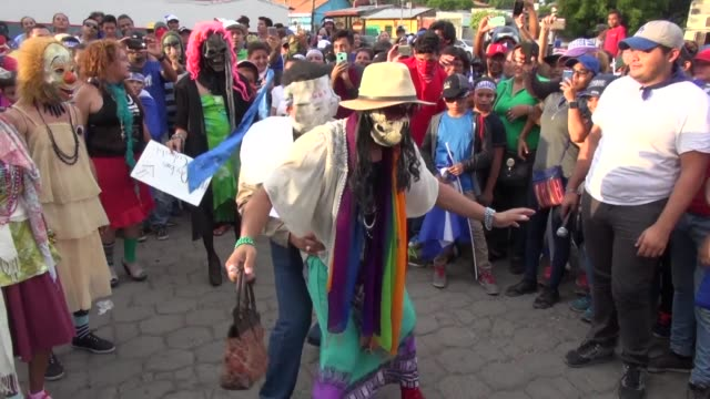 protesters take part in a march of mocking in leon nicaragua as daily protests continue around the country against president daniel ortega demanding... - nicaragua stock videos & royalty-free footage