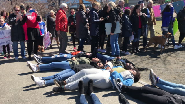 protesters take part in the march for our lives rally on march 24 2018 in stamford connecticut more than 800 march for our lives events organized by... - march for our lives video stock e b–roll