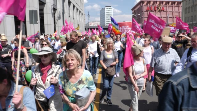 """protesters take part in the """"one europe for all"""" march on may 19, 2019 in berlin, germany. thousands of people are marching in similar events in... - alexanderplatz stock videos & royalty-free footage"""