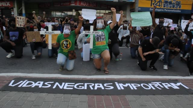 protesters take to the streets in support of the black lives matter movement in sao goncalo, brazil on june 5, 2020. - south america stock videos & royalty-free footage