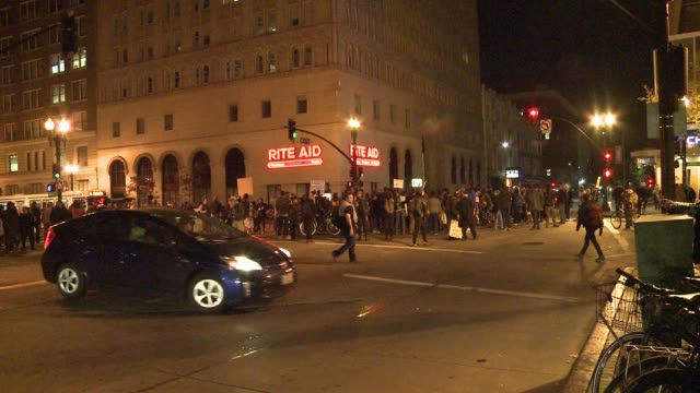 Protesters take to the streets of Oakland California for a second night and in solidarity with the St Louis Missouri suburb of Ferguson after the...